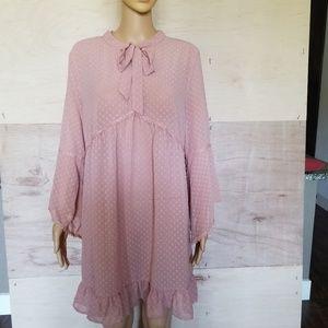 ⬇️ Chelsea & Violet Sheer Boho Mauve Crochet Dress